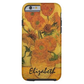 Van Gogh florece el arte, florero con 15 girasoles Funda De iPhone 6 Tough