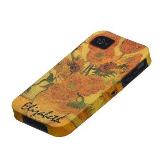 Van Gogh florece el arte, florero con 15 girasoles iPhone 4/4S Fundas