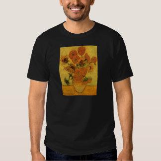 Van Gogh florece el arte, florero con 15 girasoles Playera