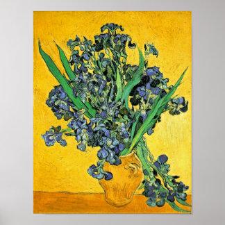 Van Gogh - florero con el fondo amarillo de los Posters