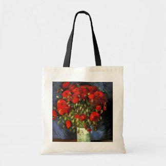 Van Gogh; Florero con las amapolas rojas, flores d Bolsas