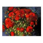 Van Gogh; Florero con las amapolas rojas, flores d Tarjeta Postal