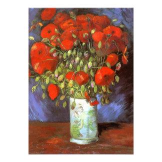 Van Gogh: Florero con las amapolas rojas Invitacion Personalizada