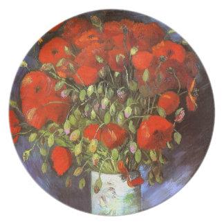 Van Gogh: Florero con las amapolas rojas Plato De Comida