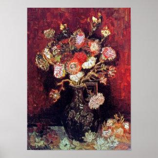 Van Gogh - florero con los asteres y el Phlox Póster
