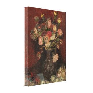Van Gogh - florero con los asteres y los gladiolos Lona Estirada Galerias