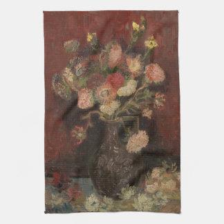 Van Gogh - florero con los asteres y los gladiolos Toallas De Mano