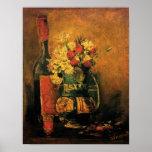 Van Gogh - florero con los claveles y los rosas Poster
