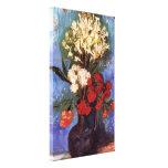Van Gogh - florero con los claveles y otras flores Impresión En Lona Estirada
