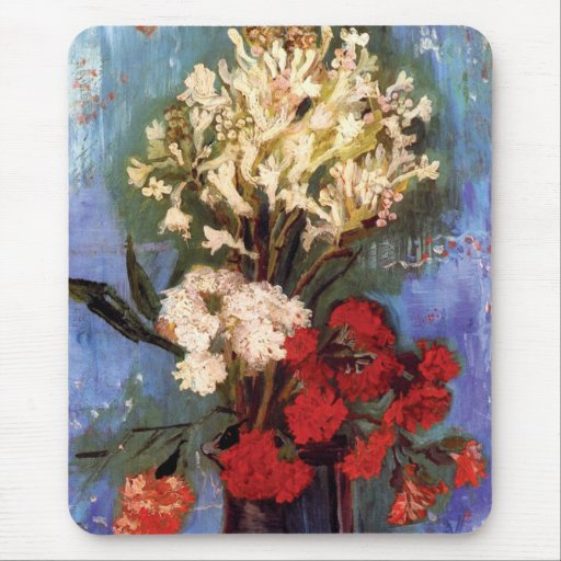 Van Gogh - florero con los claveles y otras flores Alfombrillas De Ratones