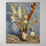 Van Gogh - florero con los gladiolos y los asteres Póster