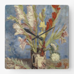 Van Gogh - florero con los gladiolos y los asteres Relojes De Pared