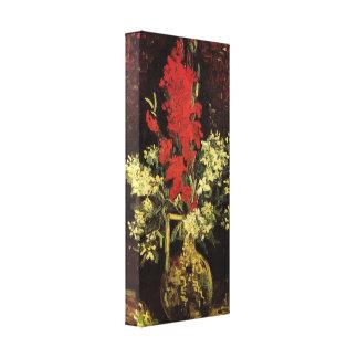 Van Gogh - florero con los gladiolos y los clavele Impresión En Lona Estirada