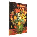 Van Gogh - florero con Zinnias Impresión En Lienzo Estirada
