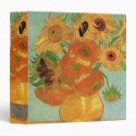 Van Gogh Flower Art, Vase with 12 Sunflowers 3 Ring Binders