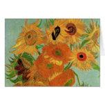 Van Gogh Flower Art, Vase with 12 Sunflowers Card