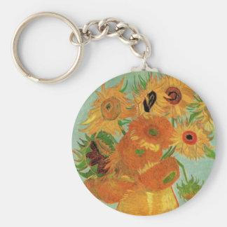 Van Gogh Flower Art, Vase with 12 Sunflowers Keychains