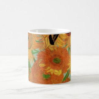 Van Gogh Flower Art, Vase with 12 Sunflowers Coffee Mug