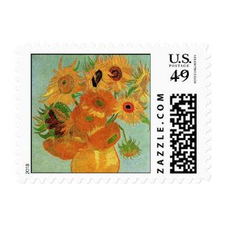 Van Gogh Flower Art, Vase with 12 Sunflowers Postage Stamps