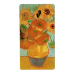 Van Gogh Flower Art, Vase with 12 Sunflowers Shipping Label