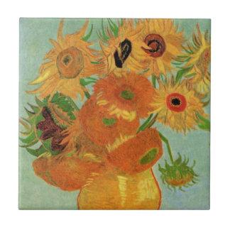 Van Gogh Flower Art, Vase with 12 Sunflowers Small Square Tile
