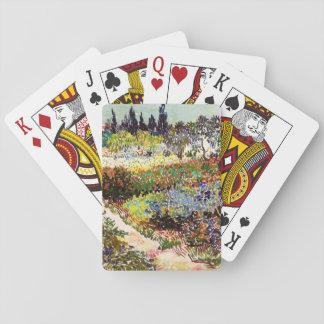 Van Gogh Flowering Garden At Arles Floral Fine Art Playing Cards