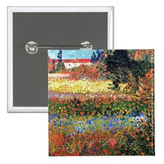 Van Gogh - Flowering Garden 2 Inch Square Button