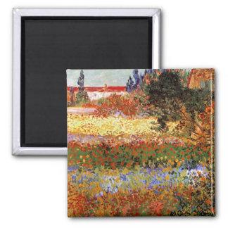 Van Gogh Flowering Garden (F430) Fine Art 2 Inch Square Magnet