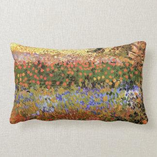 Van Gogh Flowering Garden, Vintage Floral Fine Art Lumbar Pillow