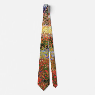 Van Gogh Flowering Garden, Vintage Floral Fine Art Tie