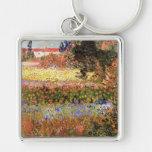 Van Gogh; Flowering Garden, Vintage Flowers Floral Keychain