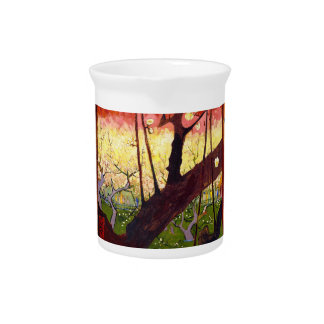 Van Gogh Flowering Plum Tree After Hiroshige Drink Pitcher