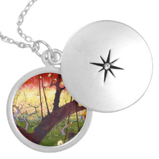 Van Gogh Flowering Plum Tree After Hiroshige Locket Necklace