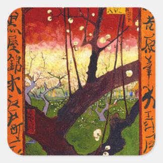 Van Gogh Flowering Plum Tree After Hiroshige Square Sticker
