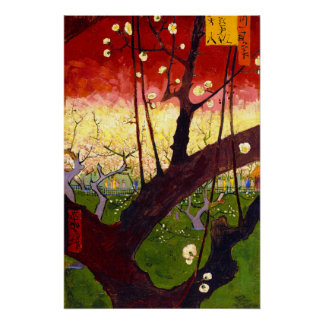 Van Gogh Flowering Plum Tree After Hiroshige Perfect Poster