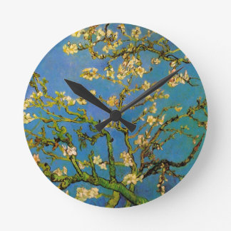 Van Gogh Flowers Art, Blossoming Almond Tree Round Wallclocks