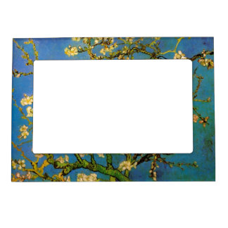 Van Gogh Flowers Art, Blossoming Almond Tree Picture Frame Magnets