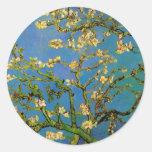 Van Gogh Flowers Art, Blossoming Almond Tree Round Sticker