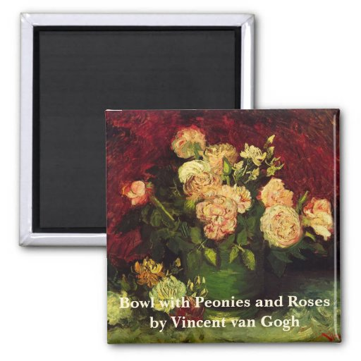 Van Gogh Flowers Art, Bowl with Peonies and Roses 2 Inch Square Magnet
