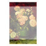 Van Gogh Flowers Art, Bowl with Peonies and Roses Stationery Design
