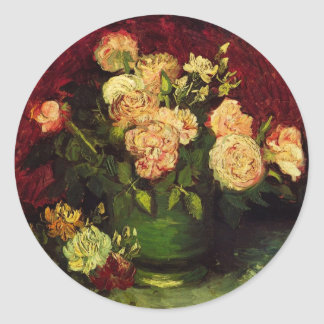 Van Gogh Flowers Art, Bowl with Peonies and Roses Classic Round Sticker