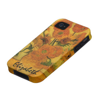 Van Gogh Flowers Art, Vase with 15 Sunflowers iPhone 4/4S Cover