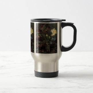 Van Gogh Flowers Vase with Myosotis and Peonies 15 Oz Stainless Steel Travel Mug
