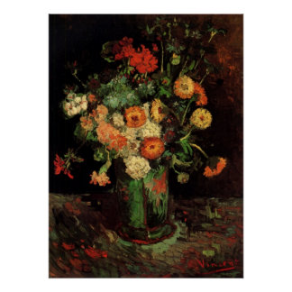 Van Gogh Flowers, Vase with Zinnias and Geraniums Poster