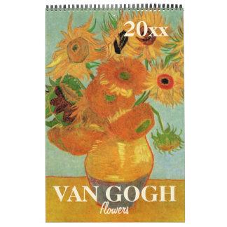 Van Gogh Flowers with Sunflowers, Poppies, Irises Calendar