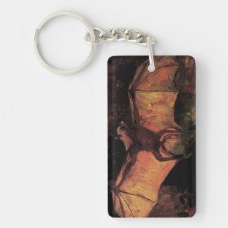 Van Gogh Flying Fox (Bat), Vintage Still Life Art Double-Sided Rectangular Acrylic Keychain
