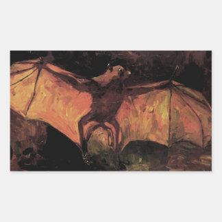 Van Gogh Flying Fox (Bat), Vintage Still Life Art Rectangle Stickers