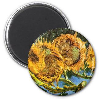 Van Gogh - Four Cut Sunflowers 2 Inch Round Magnet