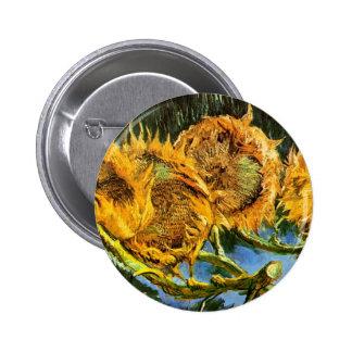 Van Gogh - Four Cut Sunflowers 2 Inch Round Button