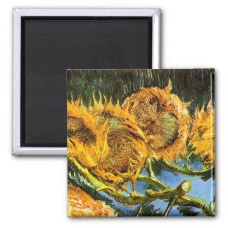 Van Gogh - Four Cut Sunflowers 2 Inch Square Magnet